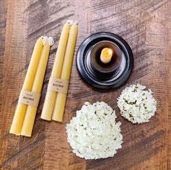 crown and birch classic beeswax tapers front