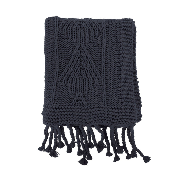 crown and birch cotton knit throw dark grey