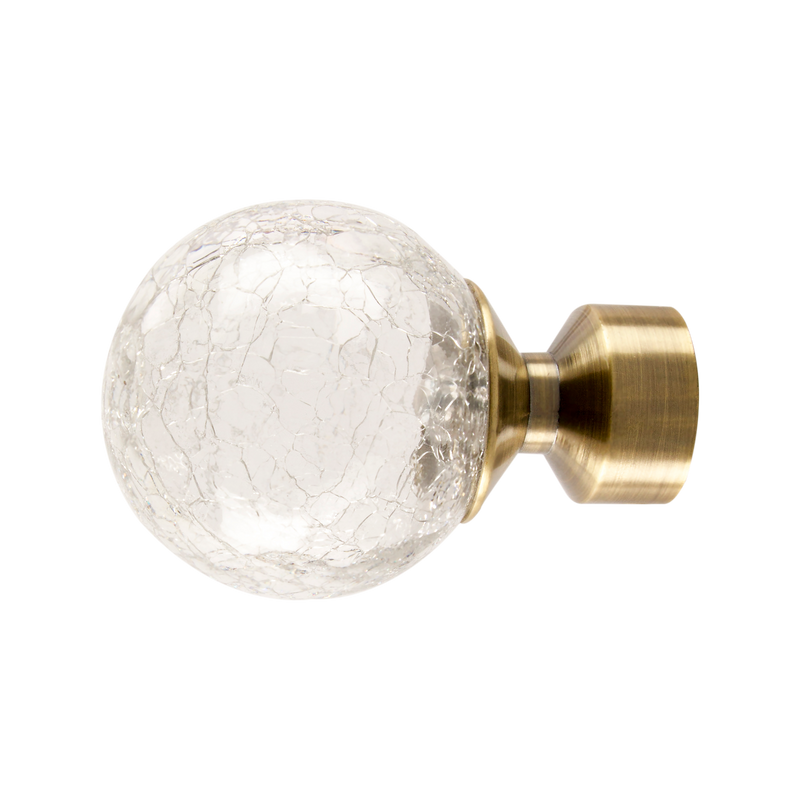 Crackled Glass Finial | Polished Graphite