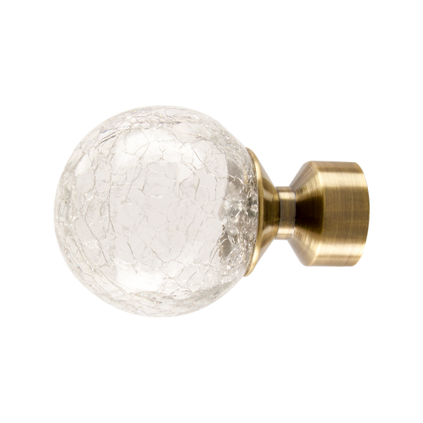 Crackled Glass Finial | Antique Brass