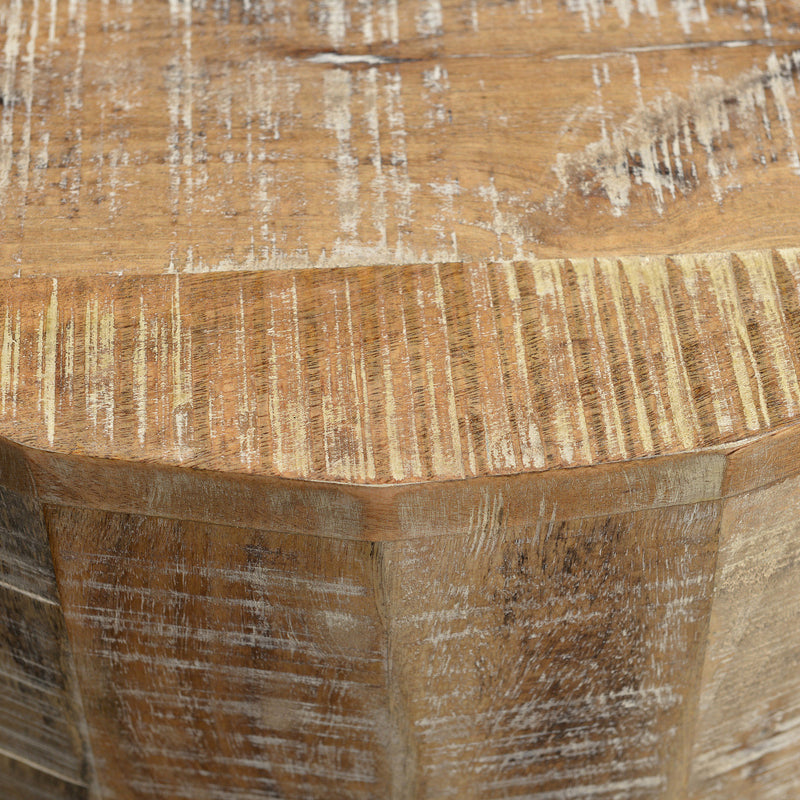 crown and birch distressed natural accent table detail