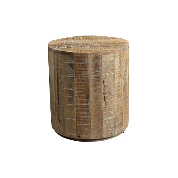crown and birch distressed natural accent table front