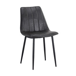 crown and birch dorian dining chair black leather angle
