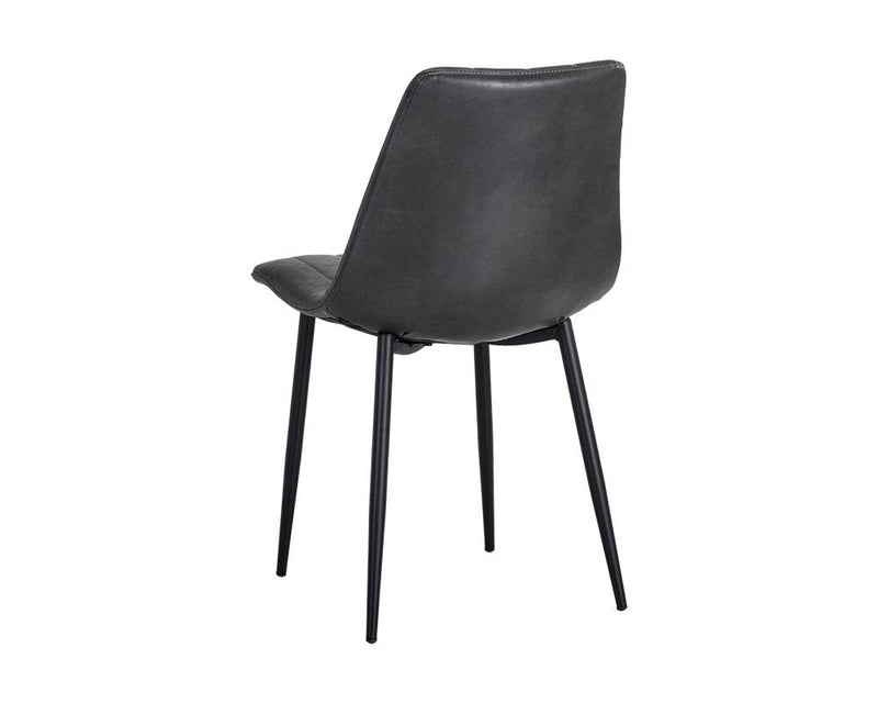 crown and birch dorian dining chair black leather back