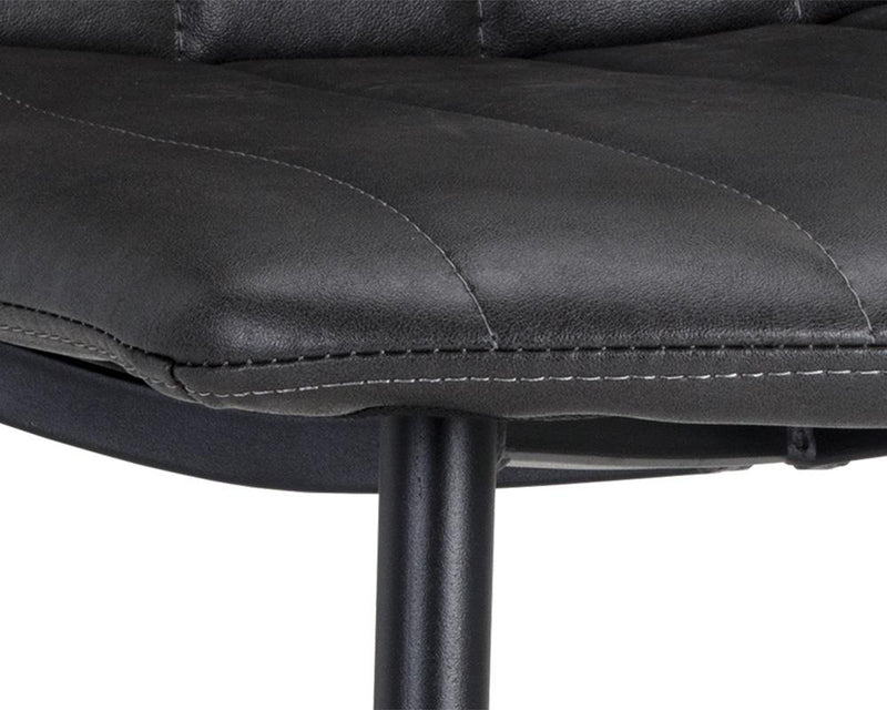 crown and birch dorian dining chair black leather detail