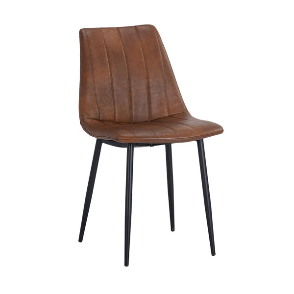 crown and birch dorian dining chair brown leather angle