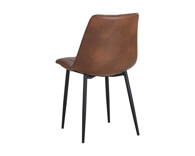 crown and birch dorian dining chair brown leather back