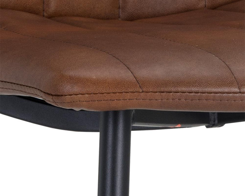 crown and birch dorian dining chair brown leather detail