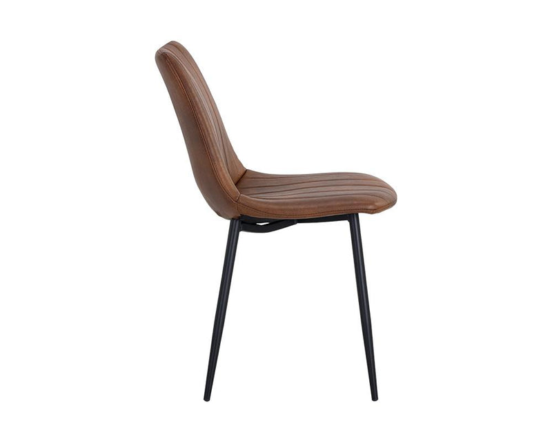 crown and birch dorian dining chair brown leather side