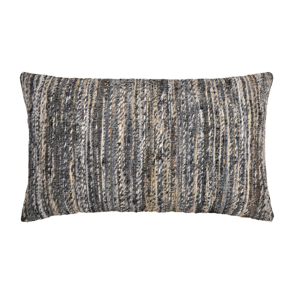 crown and birch ellis grey beige woven lumbar pillow front