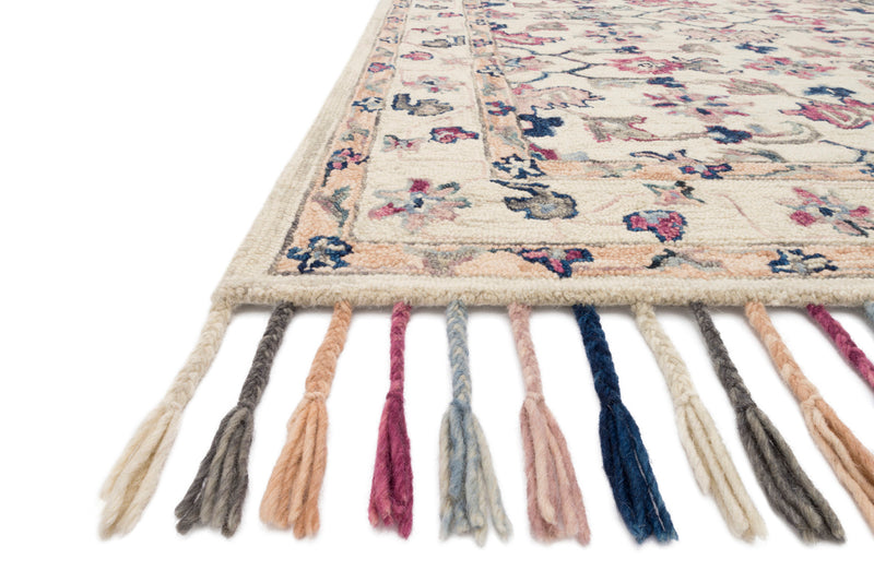 crown and birch elsa rug ivory multi detail