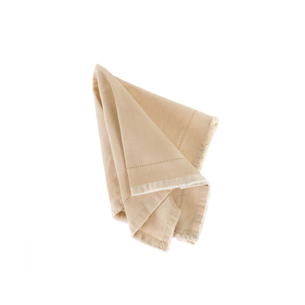 crown and birch frayed edge napkin cream front