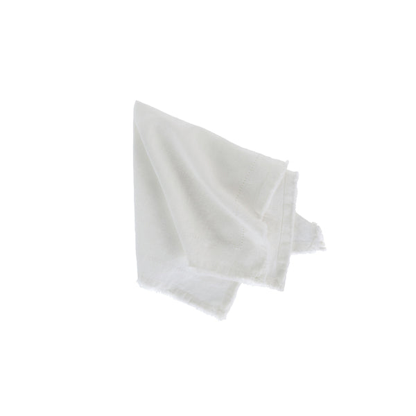crown and birch frayed edge napkin ivory front