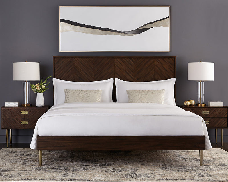 crown and birch gavin bed smoked acacia scene