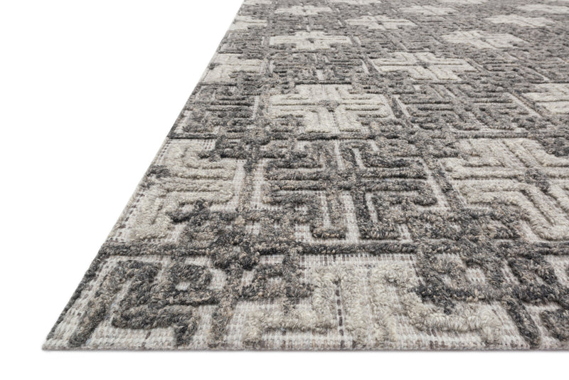 crown and birch geo rug charcoal fog detail