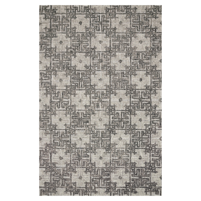 crown and birch geo rug charcoal fog front