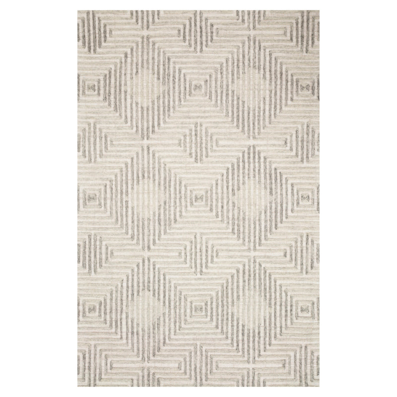 crown and birch geo rug grey silver front
