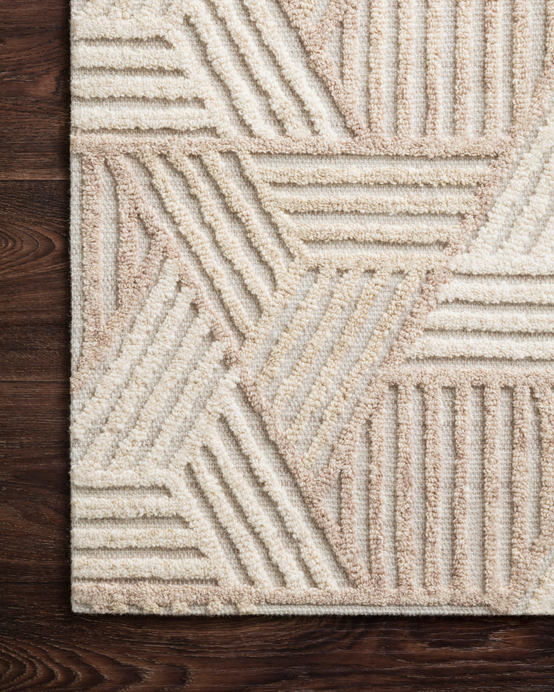 crown and birch geo rug loloi ehren oatmeal ivory detail