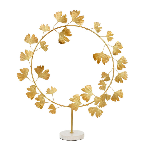 crown and birch ginko wreath on stand