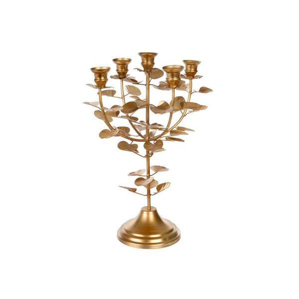 crown and birch golden eucalyptus candle holder