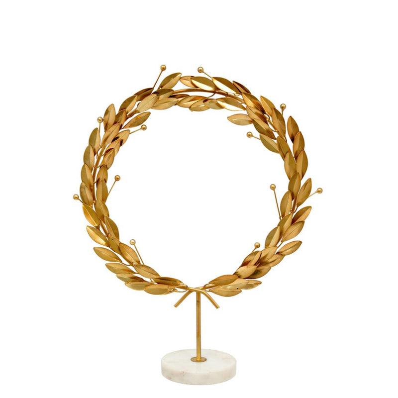 crown and birch grecian wreath on stand
