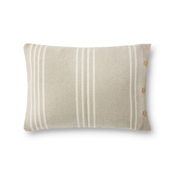 crown and birch greige stripe pillow front