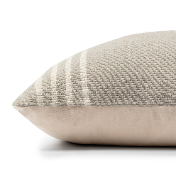crown and birch greige stripe pillow side