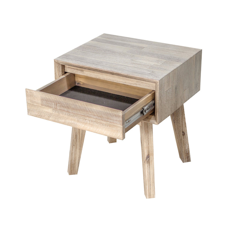 crown and birch gretta one drawer nightstand open two