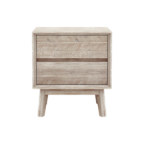 crown and birch gretta two drawer nightstand front