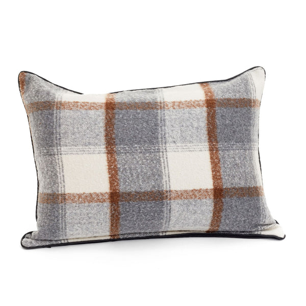 crown and birch grey and brown plaid cushion 18x24