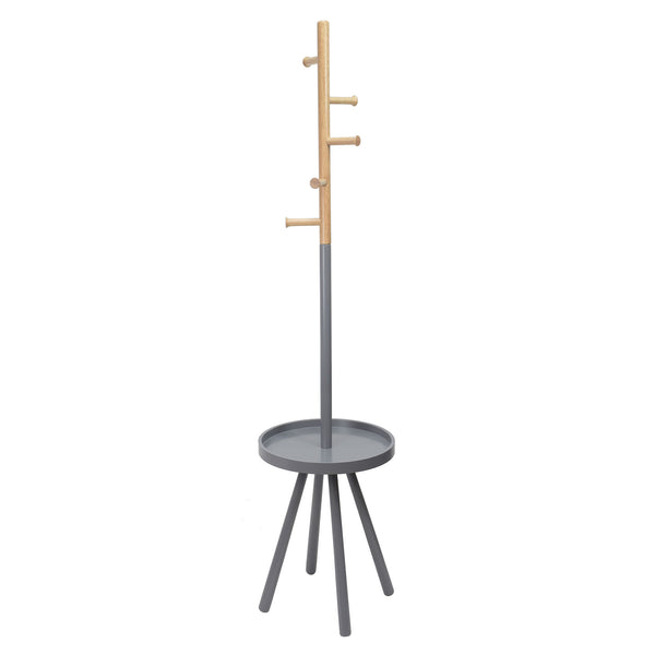 crown and birch grey rubberwood tray coat rack front