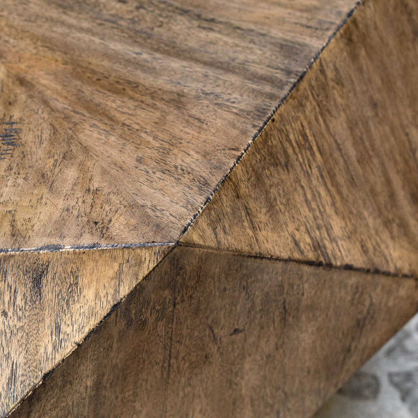 crown and birch honey geometric mango coffee table detail