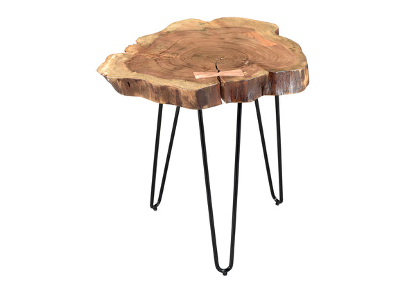 crown and birch iron acacia natural accent table front