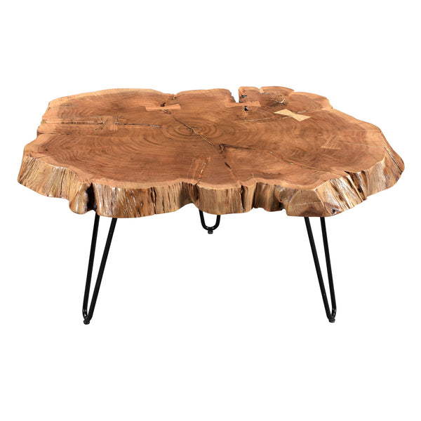 crown and birch iron acacia natural coffee table angle