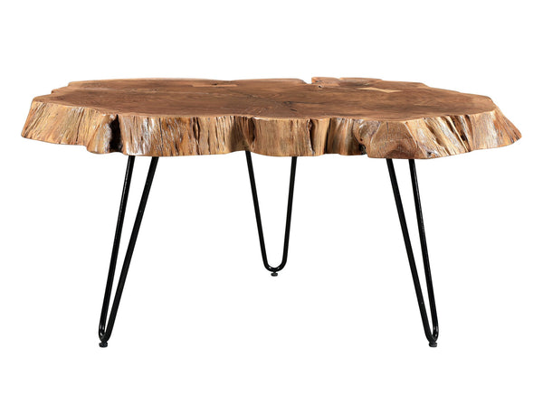 crown and birch iron acacia natural coffee table front