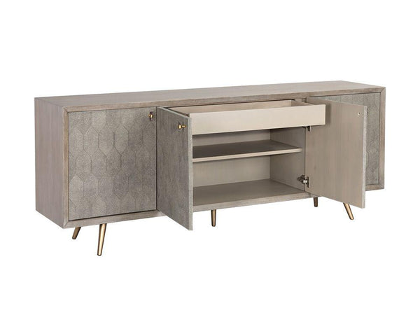crown and birch jennifer sideboard grey middle open
