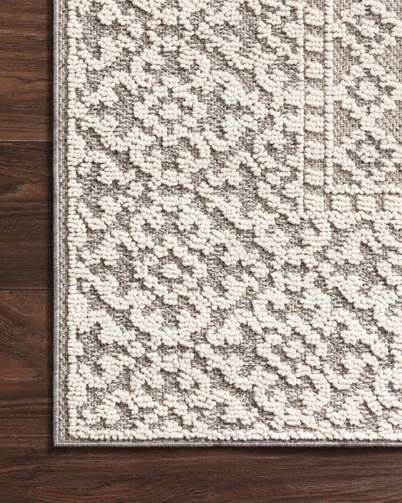 crown and birch kal rug grey ivory corner
