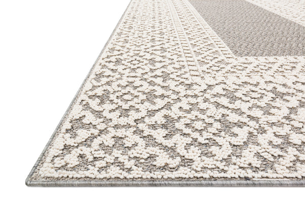 crown and birch kal rug grey ivory detail