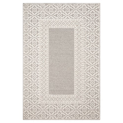 crown and birch kal rug grey ivory front