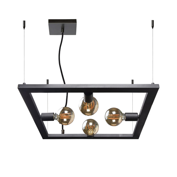 crown and birch lake light black square pendant front