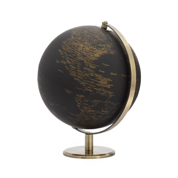 crown and birch latitude vintage black world globe front