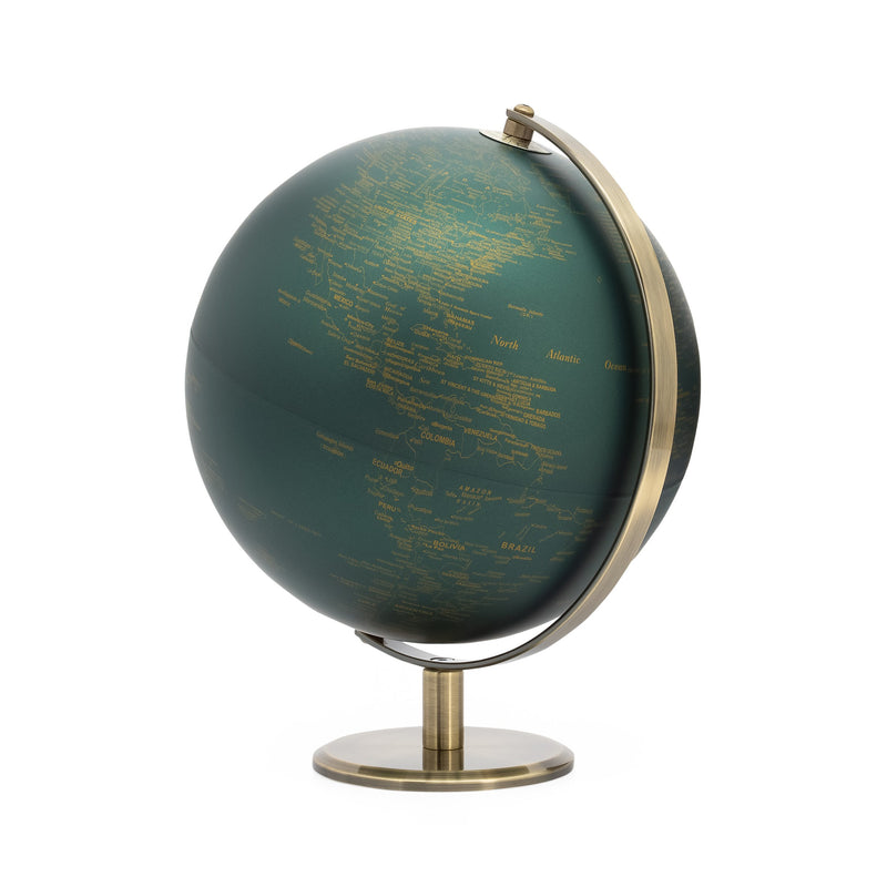 crown and birch latitude vintage green world globe front