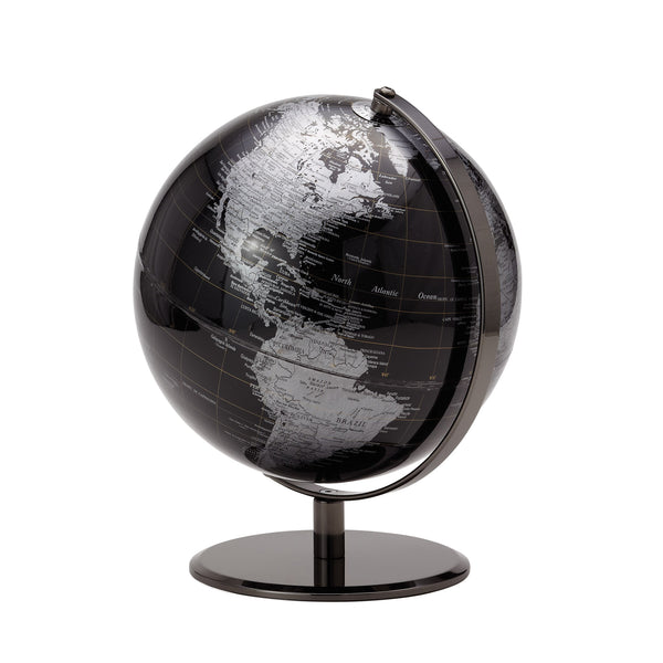 crown and birch latitude world globe black front