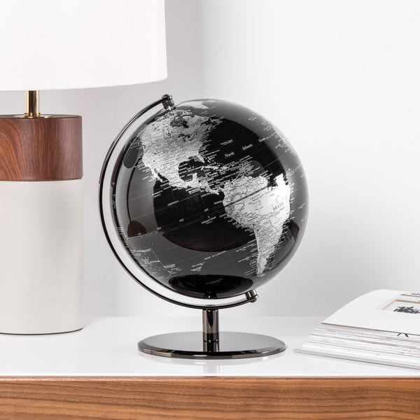 crown and birch latitude world globe black scene