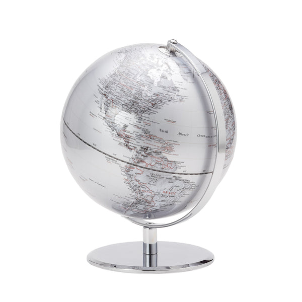 crown and birch latitude world globe silver front