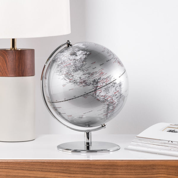 crown and birch latitude world globe silver scene