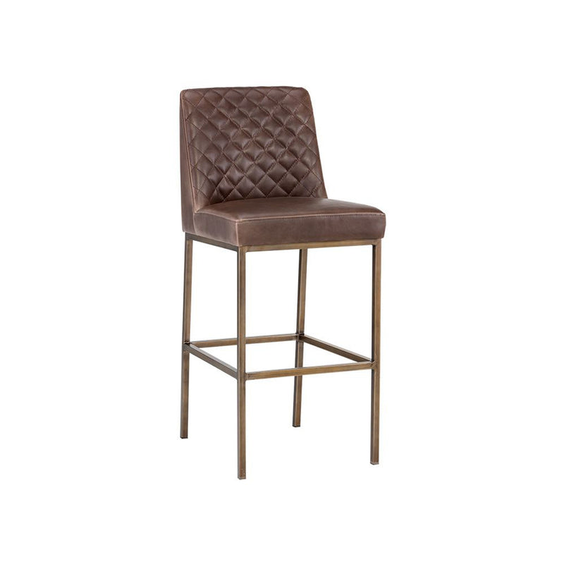 crown and birch leigh bar stool dark brown angle