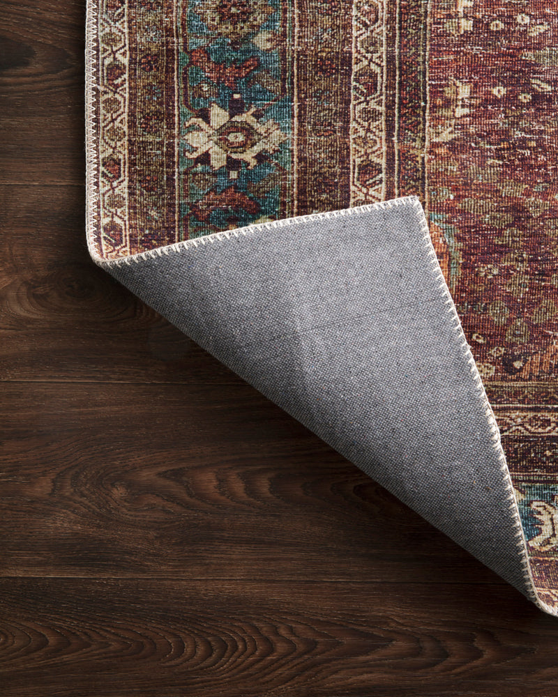 crown and birch leyla rug brick blue corner flipped