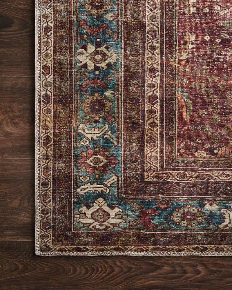 crown and birch leyla rug brick blue corner