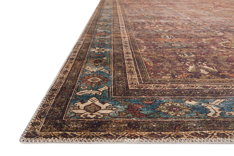crown and birch leyla rug brick blue detail